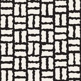 Vector Seamless Black and White Rough Hand Painted Line Pavement Grid Pattern. Abstract Background stock illustration