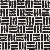 Vector Seamless Black and White Rough Hand Painted Pavement Grid Pattern Royalty Free Stock Photos