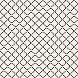 Vector Seamless Black and White Round Line Grid Geometric Pattern Stock Images