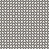 Vector Seamless Black and White Rounded Circle Maze Line Truchet Pattern Royalty Free Stock Photography