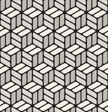 Vector Seamless Black & White Rounded Corner Rectangles Cubic Pavement Pattern Stock Images