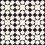 Vector Seamless Black And White Rounded Cross Square Pattern Royalty Free Stock Images