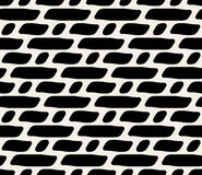 Vector Seamless Black And White Rounded Dashed Lines Pattern Stock Photography