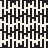 Vector Seamless Black and White Rounded Drips Wavy Lines Pattern Stock Image