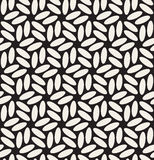 Vector Seamless Black & White Rounded Ellipses Hexagonal Floral Pattern Stock Photography