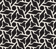 Vector Seamless Black And White Rounded Floral Hexagonal Shape Pattern Stock Images
