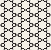 Vector Seamless Black and White Rounded Floral Hexagonal Star and Outlined Circles Pattern Royalty Free Stock Photography
