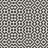 Vector Seamless Black And White Rounded Geometric Lines and Dots Pattern Royalty Free Stock Image