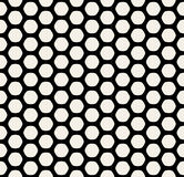 Vector Seamless Black and White Rounded Hexagon Line Grid HoneyComb Simple Pattern Stock Image