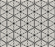 Vector Seamless Black and White Rounded Hexagon Lines Lace Pattern Stock Photography