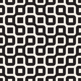 Vector Seamless Black And White Rounded Irregular Maze Lines Pattern Royalty Free Stock Images