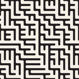 Vector Seamless Black And White Rounded Irregular Maze Lines Pattern Royalty Free Stock Photos