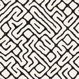 SET 50 Freehand Maze Lines I. Vector Seamless Black And White Rounded Irregular Maze Pattern. Abstract Hand Drawn Geometric Background vector illustration