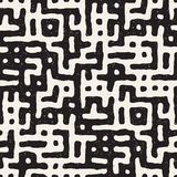 SET 50 Freehand Maze Lines I. Vector Seamless Black And White Rounded Irregular Maze Pattern. Abstract Hand Drawn Geometric Background stock illustration