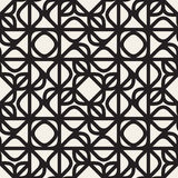 Vector Seamless Black and White Rounded Line Geometric Lace  Pattern Royalty Free Stock Photos