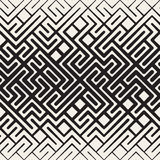 Vector Seamless Black and White Rounded Line Maze Irregular Pattern Halftone Gradient Stock Image