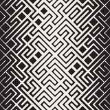 Vector Seamless Black and White Rounded Line Maze Irregular Pattern Halftone Gradient Stock Photos