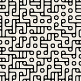 Vector Seamless Black and White Rounded Maze Irregular Circle Blocks and Lines Pattern Stock Photos
