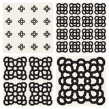 Vector Seamless Black And White Rounded Ornaments Pattern Set Royalty Free Stock Photography
