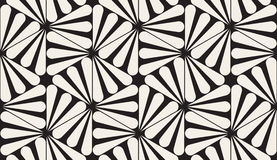 Vector Seamless Black and White Rounded Rays Hexagonal Pattern royalty free illustration