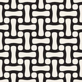 Vector Seamless Black and White Rounded Rectangles And Circles Lattice Pattern Stock Images