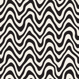 Vector Seamless Black and White Rounded Rough Hand Painted Wavy Lines Pattern Royalty Free Stock Images