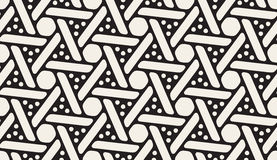 Vector Seamless Black And White Rounded Spiral Circles Hexagonal Shape Pattern Royalty Free Stock Photography