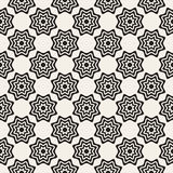 Vector Seamless Black and White Rounded Star Burst Lines Shape Pattern Royalty Free Stock Images