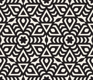 Vector Seamless Black and White Rounded Star Floral Oriental Line Pattern royalty free illustration