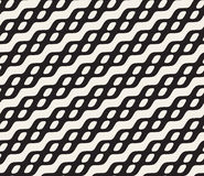 Vector Seamless Black and White Rounded Wavy Diagonal Line Ellipse Pattern Royalty Free Stock Photo