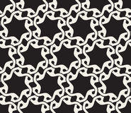 Vector Seamless Black And White Rounded Wavy Interlacing Line Geometric Stars Pattern Stock Photo