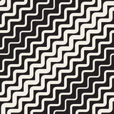 Vector Seamless Black and White Rounded Wavy Parallel Diagonal ZigZag Lines Pattern Stock Image