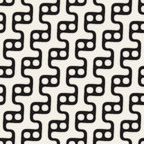 Vector Seamless Black and White Rounded Wavy Step Lines and Circles  Pattern Royalty Free Stock Photos