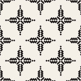 Vector Seamless Black And White Simple Cross Ethnic Square Pattern Royalty Free Stock Photo