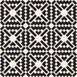 Vector Seamless Black And White Simple Cross Square  Ethnic Pattern Royalty Free Stock Photography