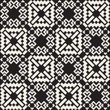 Vector Seamless Black And White Simple Cross Square  Ethnic  Quilt Pattern Stock Photos