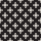 Vector Seamless Black And White Simple Cross Square Pattern Stock Images