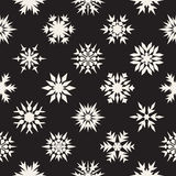 Vector Seamless Black and White Snow Flakes Ornaments Pattern Royalty Free Stock Image