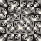 Vector Seamless Black And White Square Line Rays Irregular Geometric Pattern Royalty Free Stock Photo