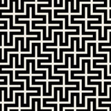 Vector Seamless Black & White Square Maze Grid Pattern Stock Image