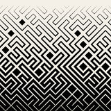 Vector Seamless Black & White Square Maze Lines Halftone Pattern Stock Photos