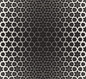 Vector Seamless Black And White Star Cube Geometric Grid Halftone Line Pattern Stock Photos