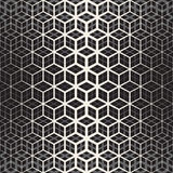 Vector Seamless Black And White Star Cube Geometric Grid Halftone Line Pattern Stock Images