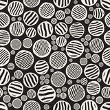 Vector Seamless Black And White Stripes Circles Jumble Hand Painted Grungy Pattern. Abstract Background Royalty Free Stock Photos