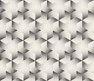 Vector Seamless  Black and White Stripes Stippling Halftone Dots Hexagonal Triangular Pattern Royalty Free Stock Photo