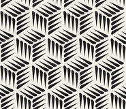 Vector Seamless Black and White Thorn Shape Cubic Geometric Pattern Stock Image