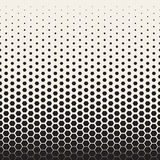 Vector Seamless Black and White Transition Halftone Hexagonal Grid Pattern Royalty Free Stock Photos