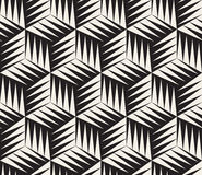 Vector Seamless Black and White Triangle Cubic Tiling Geometric Pattern Royalty Free Stock Photography