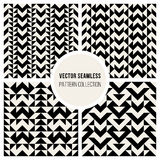 Vector Seamless Black & White Triangle Ethnic  Pattern Stock Images