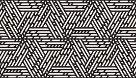 Vector Seamless Black And White Triangle Rounded Dashed Lines Geometric Pattern Stock Image